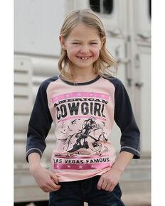 Cruel Girl Girls' American Cowgirl Raglan Tee, Pink, hi-res