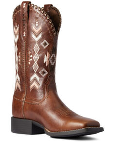 Ariat Women's Canyon Tan Round Up Skyler Full-Grain Western Boot - Wide Square Toe , Brown, hi-res