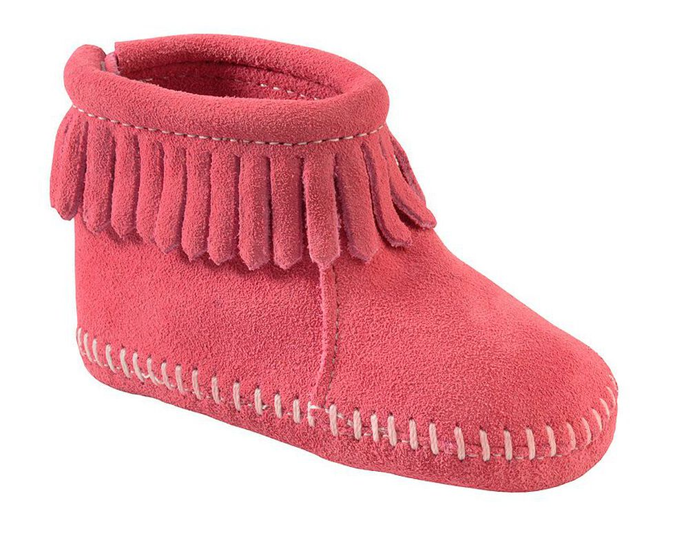 Minnetonka Infant Girls' Suede with Fringe Hook and Loop Closure Booties, Hot Pink, hi-res