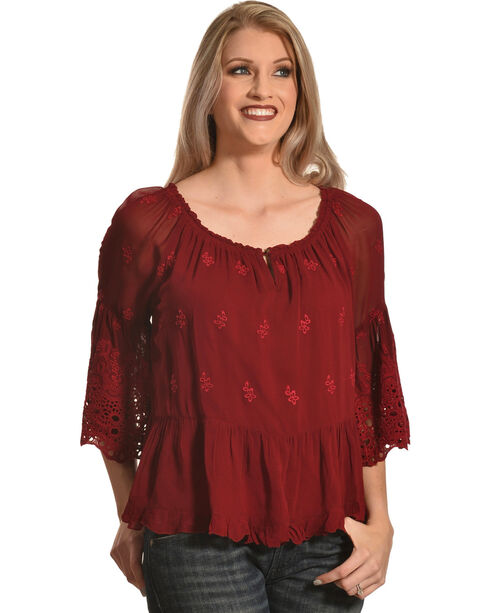 Bila Women's Wine Embroidered Bell Sleeve Blouse , Wine, hi-res