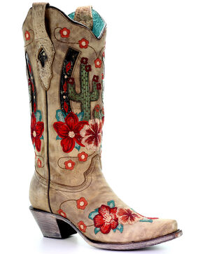 Corral Women's Cactus Inlay Western Boots - Snip Toe, Taupe, hi-res