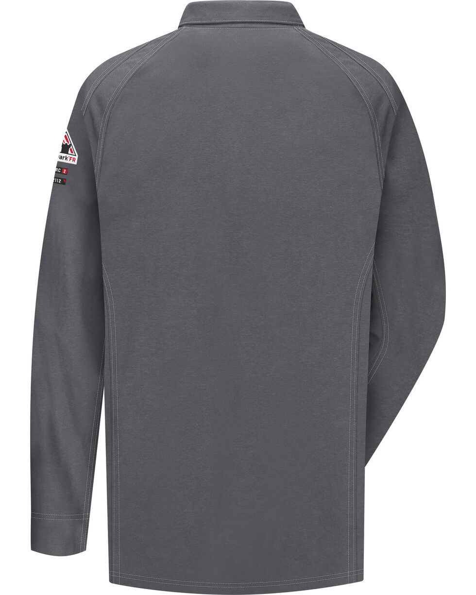 Bulwark Men's Grey iQ Series Flame Resistant Long Sleeve Polo - Big & Tall , Charcoal Grey, hi-res