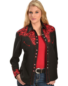 Scully Women's Crimson Floral Embroidered Shirt , Red, hi-res