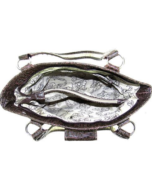 Savana Brown Tooled Conceal Carry Buckle Purse, Brown, hi-res