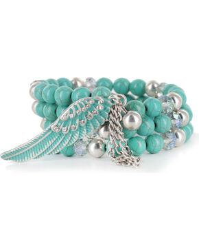 Shyanne Women's Angel Wing Coil Bracelet, Turquoise, hi-res