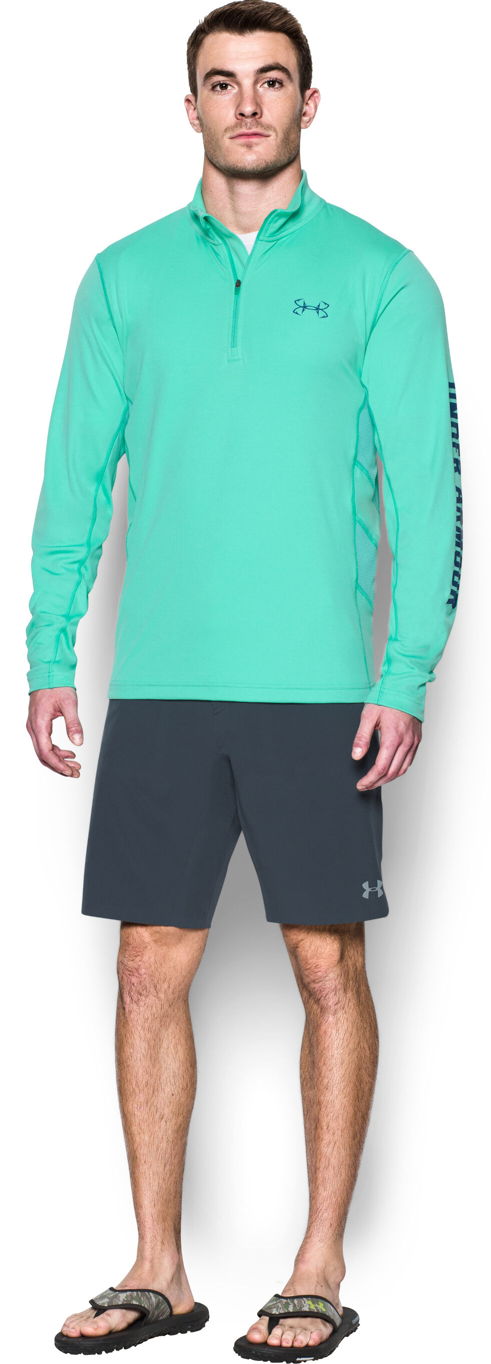 Under Armour Men's Fish Hunter 1/4 Zip Shirt, Lt Green, hi-res