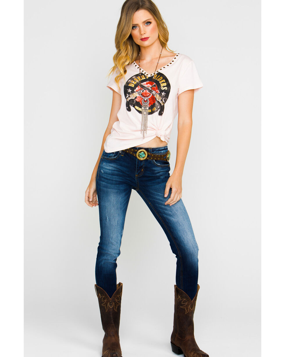 Shyanne Women's Blush Pistol Desert Riders V-Neck T-Shirt, Blush, hi-res