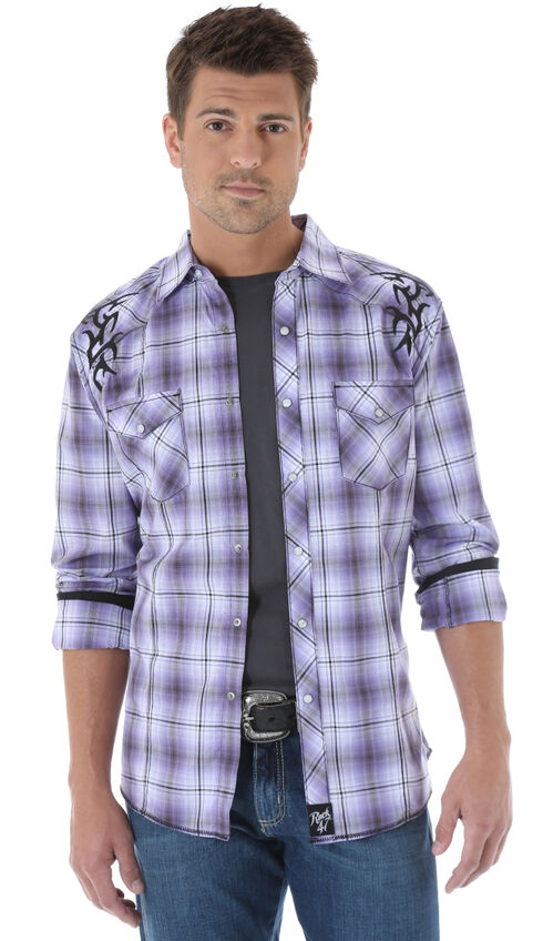 Wrangler Rock 47 Embroidered Purple Plaid Long Sleeve Shirt, Purple Pld, hi-res