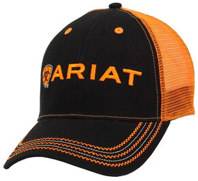 Ariat Rumblin' Black and Orange Mesh Ballcap, Black, hi-res