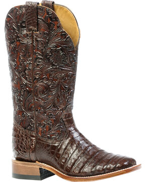 Boulet 3-Piece Chocolate Caiman Floral Cowgirl Boots - Square Toe, Chocolate, hi-res