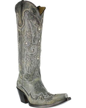 Corral Women's Stud and Embroidered Western Boots - Snip Toe, Black, hi-res