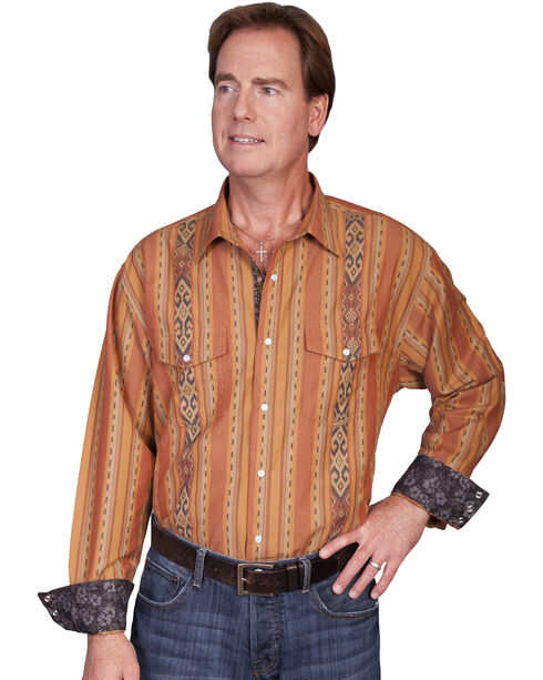 Scully Signature Series Patterned Stripe Western Shirt, Rust, hi-res
