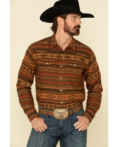 Ariat Men's Heffner Retro Striped Long Sleeve Western Shirt , Brown, hi-res