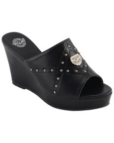 Milwaukee Leather Women's Crossover Open Toe Wedge Sandals, Black, hi-res