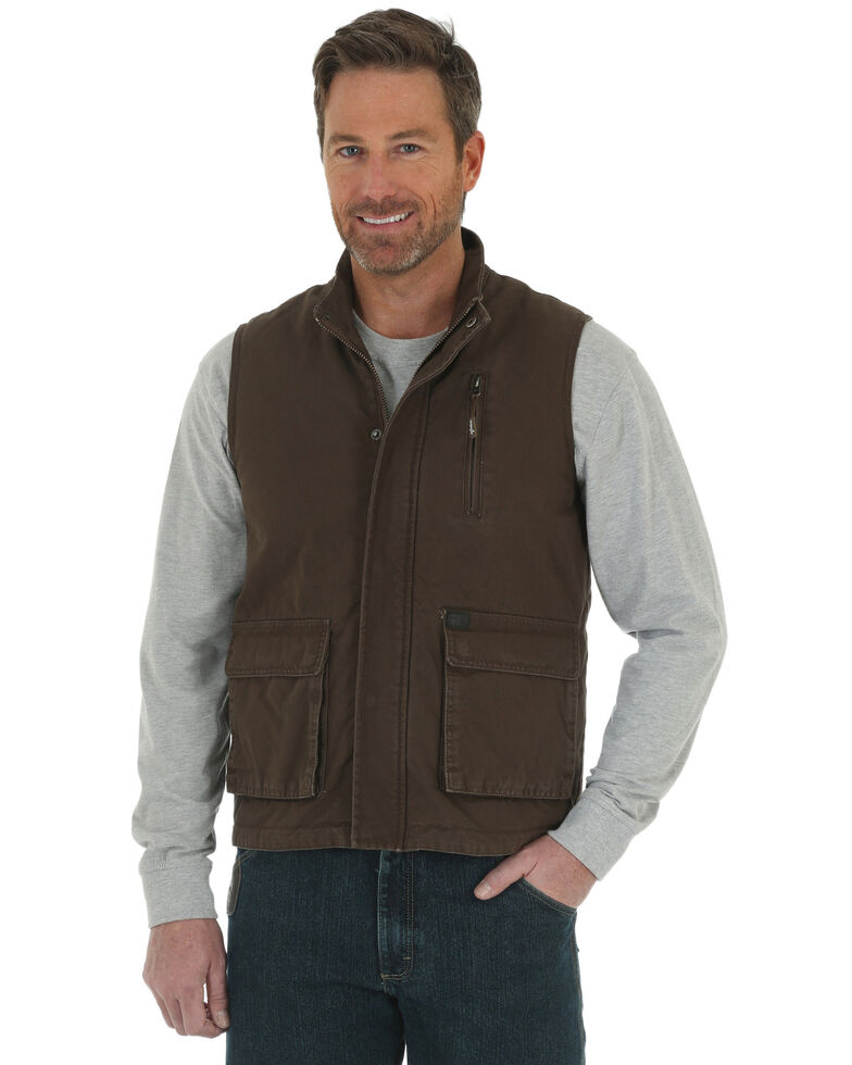 Wrangler Riggs Men's Foreman Work Vest, Brown, hi-res