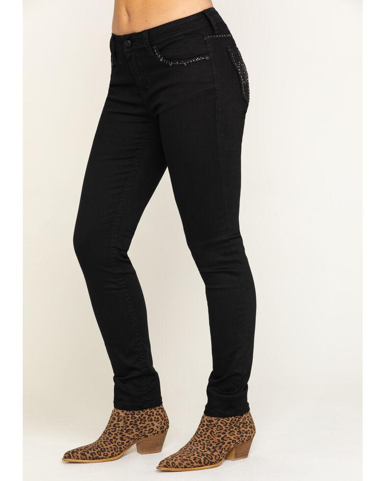 Grace in LA Women's Black Embroidered Cross Skinny Jeans , Black, hi-res