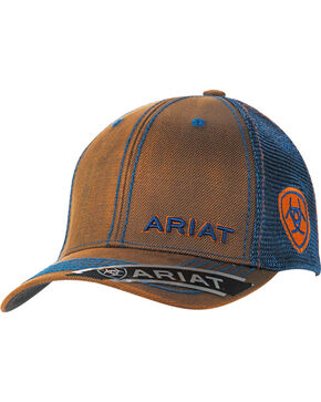Ariat Men's Oilskin Meshback Cap, Brown, hi-res