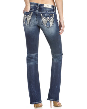 Miss Me Women's Angel Wings Boot Cut Jeans, Blue, hi-res