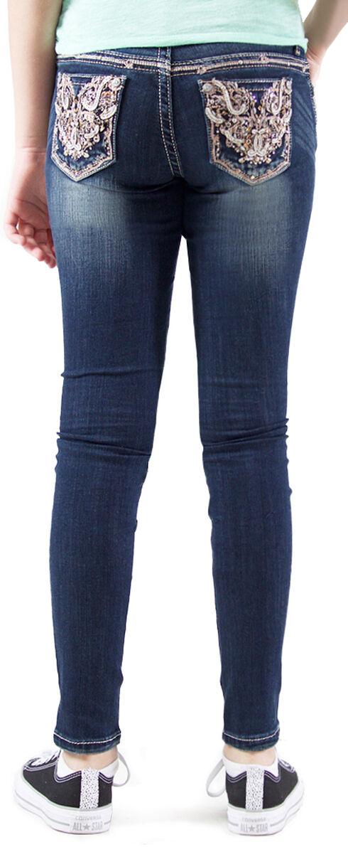 Grace in LA Girls' Dark Wash Embellished Skinny Jeans , Indigo, hi-res
