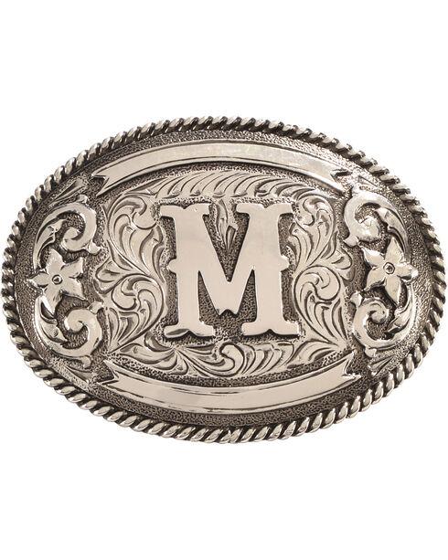 Cody James Men's Oval Letter M Initial Belt Buckle , Silver, hi-res