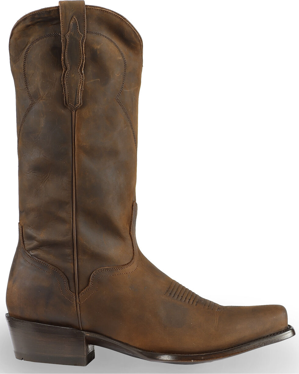 El Dorado Men's Handmade Tan Oiled Roper Boots - Square Toe, Tan, hi-res