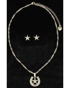 Lightning Ridge Embellished Horsehoe & Star Charm Necklace Set, Multi, hi-res