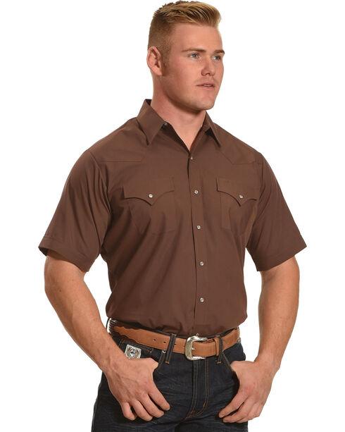 Ely Cattleman Men's Brown Short Sleeve Solid Shirt , Brown, hi-res