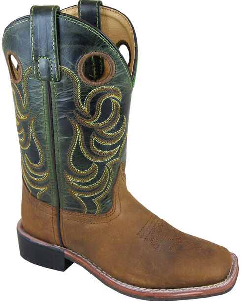 Smoky Mountain Youth Boys' Green Jesse Western Boots - Square Toe , Brown, hi-res