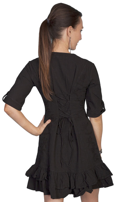 Scully Sweetheart Lace Up Back Dress, Black, hi-res