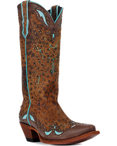 Johnny Ringo Cheetah Print Turquoise Inlay Cowgirl Boots - Snip Toe, Cheetah, hi-res