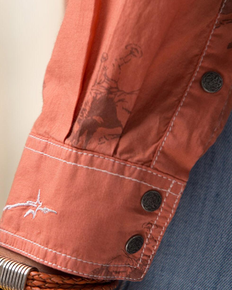 Ryan Michael Women's Orange Bucking Horse Print Shirt , , hi-res