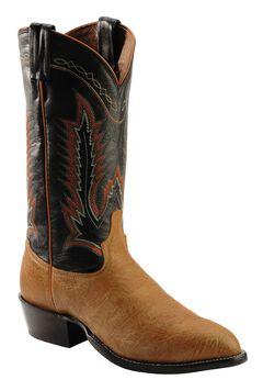 Tony Lama Pecan Taurus Shoulder Cowboy Boots - Round Toe, Pecan, hi-res