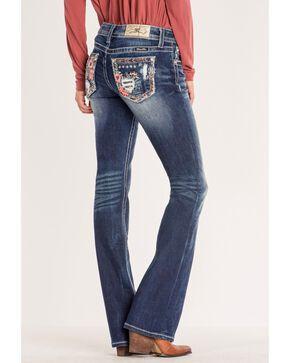 """Miss Me Women's Med Wash 32"""" Boot Jeans , Blue, hi-res"""