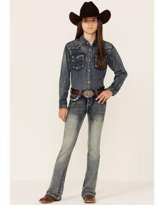 Grace In LA Girls' Dark Wash Floral Horseshoe Bootcut Jeans, Blue, hi-res