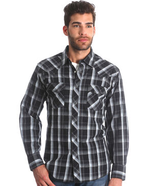 Wrangler Men's Black Plaid Fashion Snap Shirt - Big & Tall , Black, hi-res