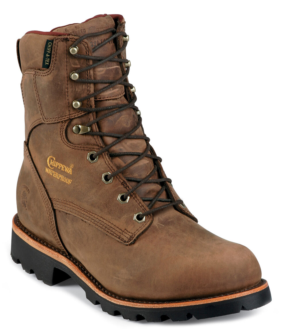 """Chippewa Insulated Waterproof 8"""" Lace-Up Work Boots - Round Toe, Bay Apache, hi-res"""
