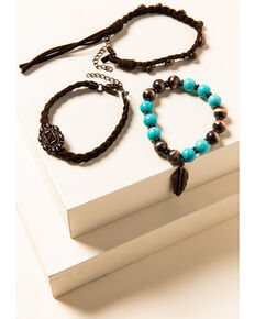 Shyanne Women's Willow Moon Leather Beaded Bracelet Set, Rust Copper, hi-res