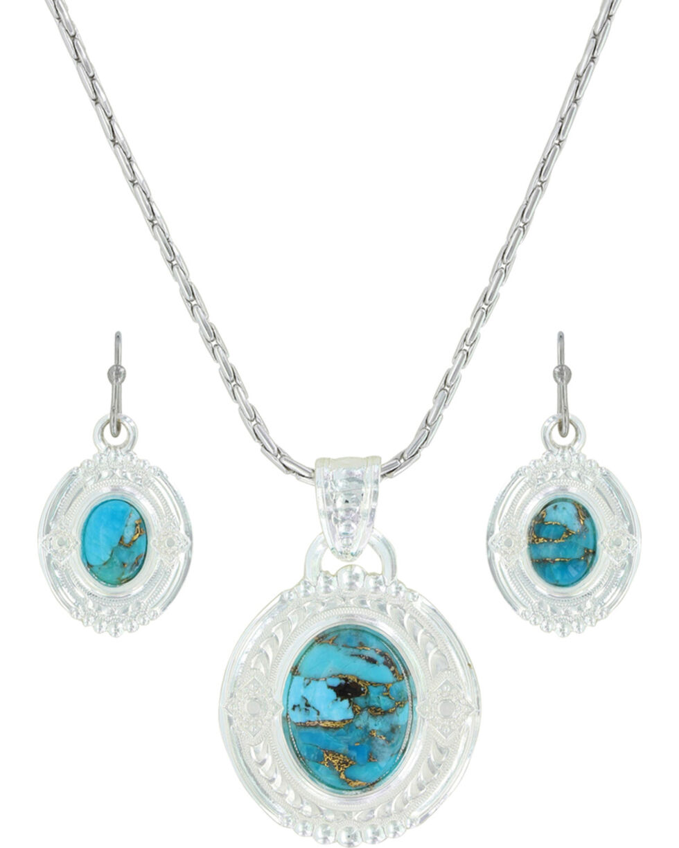 Montana Silversmiths Women's Glacier Pools Of Turquoise Jewelry Set , Silver, hi-res