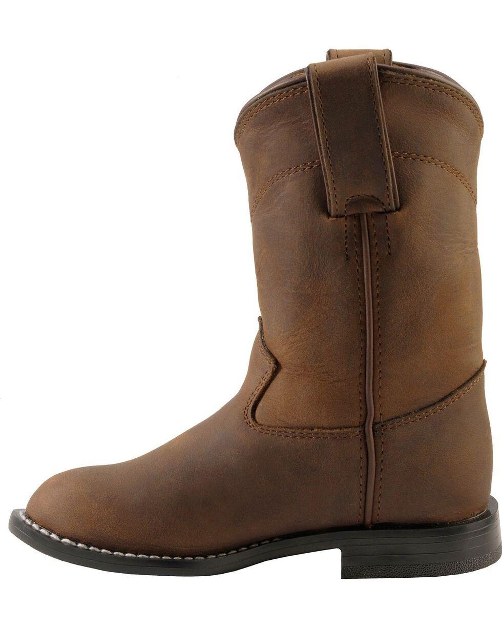 Justin Boys' Roper Cowboy Boots - Round Toe, Bay Apache, hi-res