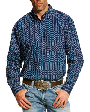 Ariat Men's Navy Balsman Print Western Shirt , Navy, hi-res