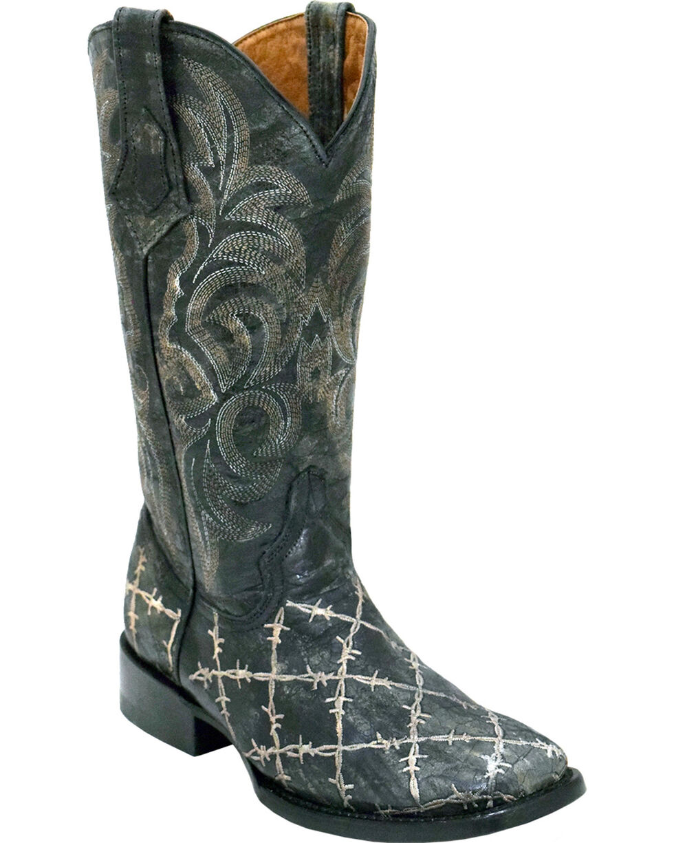 Ferrini Women's Barbed Wire Western Boots - Square Toe, Black, hi-res