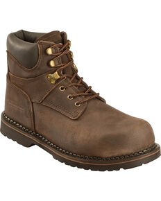 "American Worker Men's 6"" Work Boots - Steel Toe , Dark Brown, hi-res"