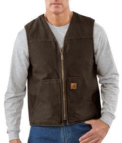 Carhartt Sandstone Duck Work Vest - Big & Tall, Dark Brown, hi-res