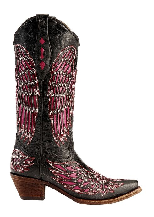 Corral Fuchsia Wing Inlay & Cross Embroidery Cowgirl Boots - Snip Toe, Black, hi-res