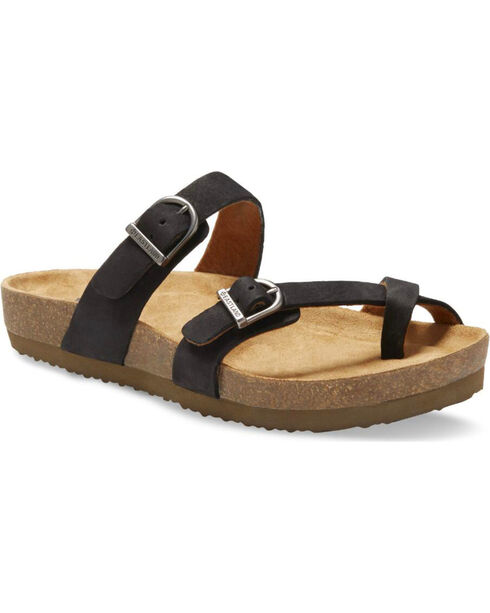 Eastland Women's Tiogo Buckle Strap Thong Sandals, Black, hi-res