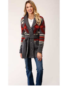 Stetson Women's Aztec Shawl Collar Cardigan , Charcoal, hi-res
