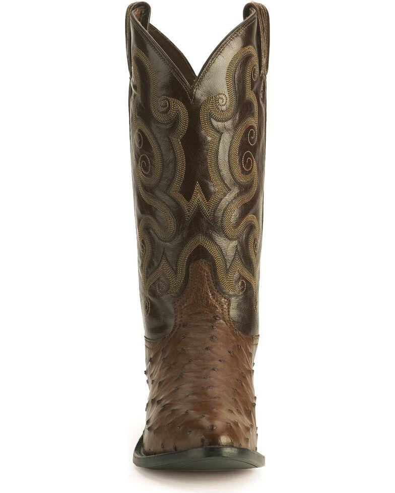 Tony Lama Full Quill Ostrich Western Boots - Medium Toe, Coffee, hi-res