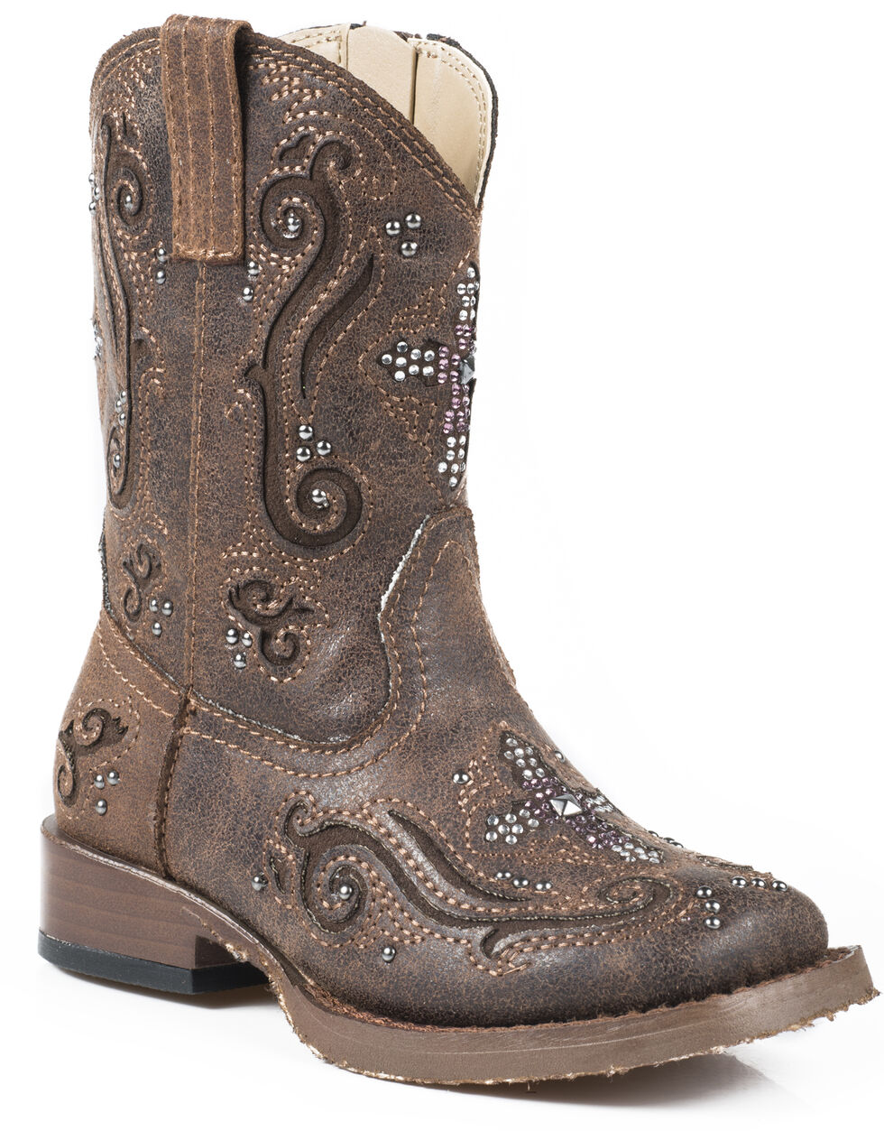 Roper Toddler Girls' Pink Crystal Cross Inlay Cowgirl Boots - Square Toe, Brown, hi-res