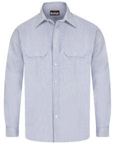 Bulwark Men's FR Mid-Weight Striped Long Sleeve Work Shirt - Tall , Blue, hi-res