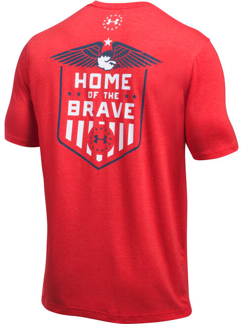 Under Armour Freedom Men's Red Home of the Brave Tactical Graphic T-Shirt, Red, hi-res